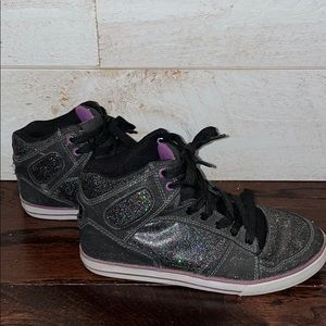 Airwalk Women's High Top Black Glitter Sneakers